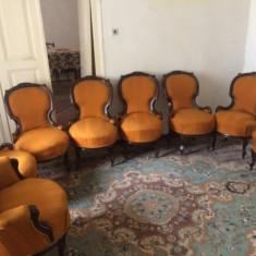 Set de fotolii scaune 6+2 stil ludovic al xiii se vand impreuna pret negociabil, 1900 - 1949