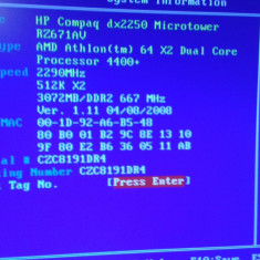 HP DX2250+AMD 4400+ dual core+ 3gb ddr2 - Placa de Baza Acer, Pentru AMD, AM2, Contine procesor