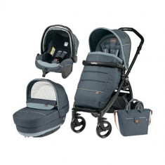 Carucior 3 in 1 Book Plus Black Matt POP-UP Elite Blue Denim - Carucior copii 3 in 1 Peg Perego