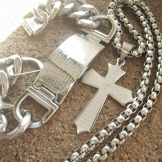Lant +medalion +bratara inox = 80 ron - Set bijuterii inox
