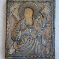 Icoana veche de argint cu marcaje - anii 1810- 1830/ Icoana Sf. Andrei argint - Icoana cu foita de aur