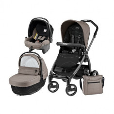Carucior 3 in 1 Book Plus 51 Black Sportivo Bloom Bloom Beige - Carucior copii 2 in 1 Peg Perego