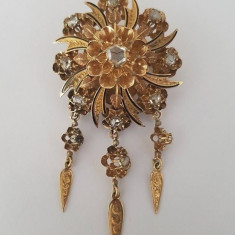 Pandantiv / brosa din aur 14k cu diamante si email - secol 19