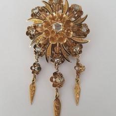 Pandantiv / brosa din aur 14k cu diamante si email - secol 19 - Pandantiv aur