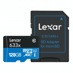 Card de memorie Lexar High Performance 633X micro SD cu adaptor SD 128 GB Clasa 10