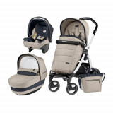 Carucior 3 in 1 Book Plus 51 Black&White POP-UP Elite Luxe Beige, Peg Perego