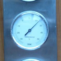Barometru, termometru si higrometru, pe suport metalic, functionale