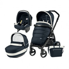 Carucior 3 in 1 Book Plus Black Matt POP-UP Elite Luxe Blue - Carucior copii 3 in 1 Peg Perego