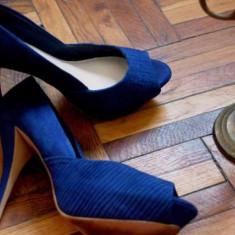Pantofi Zara, albastru electric, marimea 39 - Pantof dama Zara, Cu toc