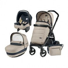Carucior 3 in 1 Book Plus Black Matt POP-UP Elite Luxe Beige - Carucior copii 3 in 1 Peg Perego