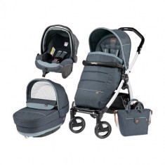 Carucior 3 in 1 Book Plus 51 Black&White POP-UP Elite Blue Denim - Carucior copii 3 in 1 Peg Perego