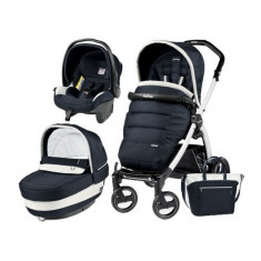 Carucior 3 in 1 Book Plus 51 Black&White Completo Elite Luxe Blue - Carucior copii 3 in 1 Peg Perego
