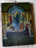 ICOANA pictata pe lemn ADORMIREA MAICII DOMNULUI / Icoana veche pictata pe lemn