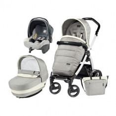 Carucior 3 in 1 Book Plus 51 Black&White Completo Elite Luxe Opal - Carucior copii 3 in 1 Peg Perego
