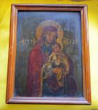 Icoana veche Fecioara Maria si Pruncul ISUS anii 1900 / Icoana MAICA DOMNULUI