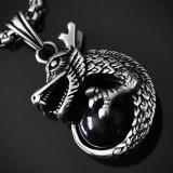 Amuleta, Pandantiv Dragon Cornut, Lup Dacic, INOX cu cristal Onix - cod PND080