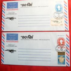 2 Aerograme francate marca fixa 20C si 17C cu 2 timbre 10C -Craciun 1980