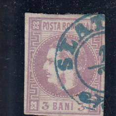 ROMANIA1870/72 L P 22 CAROL I FAVORITI VAL. 3 BANI VIOLET STAMPILA SLATINA - Timbre Romania, Stampilat