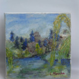 Peisaj 3-pictura ulei pe panza;MacedonLuiza - Pictor roman, Peisaje, Altul