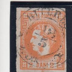 ROMANIA 1868 LP 21 CAROL I FAVORITI VAL. 2 BANI PORTOCALIU STAMP.BUCURESTI - Timbre Romania, Stampilat