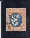 ROMANIA  1869  LP 28 MI 24 CAROL I CU FAVORITI VAL 25 BANI  PORT/ALBASTRU STAMP., Stampilat
