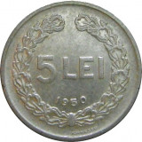 ROMANIA, 5 LEI 1950_luciu partial de batere * cod 15.6, Aluminiu