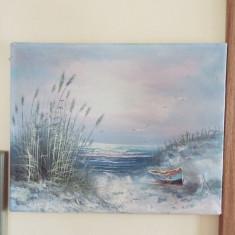 Tablou panza ulei peisaj marin - Tablou autor neidentificat, Marine, Altul