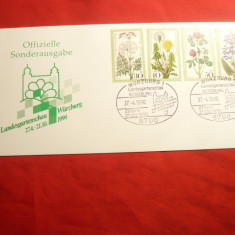 Carton filatelic oficial -Serie Flora1977, stamp. speciala 1990 RFG