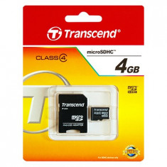 MICRO SD CARD 4GB CU ADAPTOR TRANSCEND - Card Micro SD