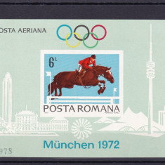 ROMANIA 1972 LP 789 PREOLIMPIADA MUNCHEN COLITA NEDANTELATA MNH - Timbre Romania, Nestampilat