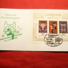 Carton filatelic oficial -Colita Jungestil 1977, stamp. sec.1990 RFG
