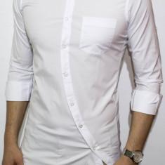 Camasa asimetrica slim fit - camasa barbat camasa slim fit camasa alba
