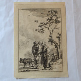2 personaje gravura veche - Tablou autor neidentificat, Peisaje, Cerneala, Realism