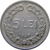 ROMANIA, 5 LEI 1949_luciu partial de batere * cod 19.6, Aluminiu