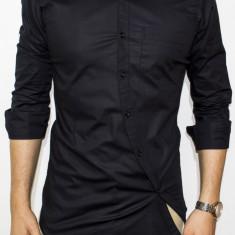 Camasa asimetrica slim fit - camasa barbat camasa slim fit camasa neagra