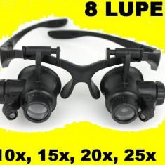 Ochelari cu Lumina LED CU 8 LUPE interschimbabile Ceasornicar, etc