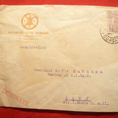 Plic circulat cu Antet Automobil Club Regional Cluj, francat cu 1 leu Uzuale Fer