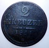 2.219 AUSTRIA TRANSILVANIA 2 KREUZER 1851 G BAIA MARE, Europa, Cupru (arama)