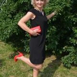 Rochie neagra de primavara-toamna, model casual usor evazat (Culoare: NEGRU, Marime: 42)