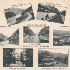 SALUTARI DIN  BAILE CALIMANESTI  DEFILEUL TURNU GURA LOTRULUI SATUL CIRC. 1927, Circulata, Printata
