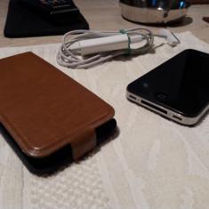 Telefon iPhone 4 Apple, nefolosit, in husa piele naturala flip verticala cu magnet, Negru, 8GB, Neblocat