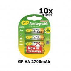 GP AA 2700mAh Baterii reîncărcabile Conţinutul pachetului 10x Blistere - Baterie Aparat foto