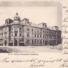 SIBIU MILITARA SALUTARI DIN SIBIU COMENDUIREA DE GARNIZOANA CLASICA CIRC. 1900 - Carte Postala Transilvania pana la 1904, Circulata, Printata