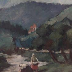 """Tablou vechi, ulei pe placaj """" Peisaj valea Ariesului """"   posibil  Chirovici., Peisaje, Altul"""