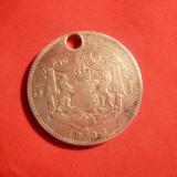 Moneda 5 lei 1883 Carol I, argint, gaurita pt. medalion - Moneda Romania