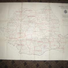 Harta Administrativa RSR 1966 - judetele, dim.= 100x70 cm