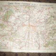 Harta Ghid Campbell - Iesirile din Paris inc.sec.XX ,93x67 cm