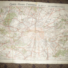 Harta Ghid Campbell - Iesirile din Paris inc.sec.XX, 93x67 cm - Harta Frantei