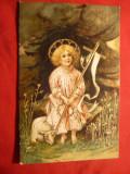 Ilustrata - Felicitare de Paste- romaneasca ,circulat 1906 cu spic de grau, Circulata, Printata