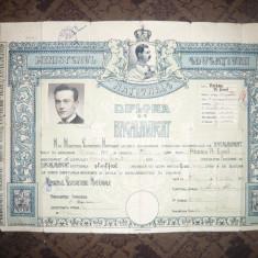 Diploma Bacalaureat 1938 Sibiu cu portret Carol II lui Emil A.Hossu - Diploma/Certificat
